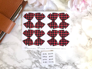 Buffalo Plaid BOw Tab Stickers - Fits Erin Condren, KikkiK, Filofax Planners and Midori Notebooks 2238 - Planner Press