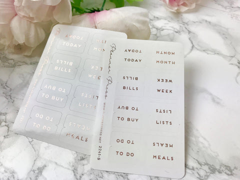 Small Monthly White and Rose Gold Foiled Tabs