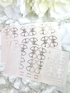Blush Pink Bow Tabs With Silver Foil - Fits Erin Condren, KikkiK, Filofax Planners and Midori Notebooks - Planner Press