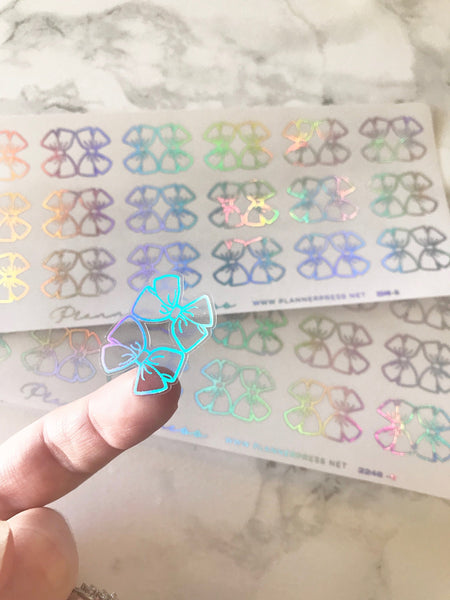 Mini Holo Clear Foiled Bow Tabs For Planners and Travelers Notebooks - Planner Press