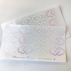 Small Ears Holographic Foil Clear Foiled Tabs For Planners and Travelers Notebooks - Planner Press