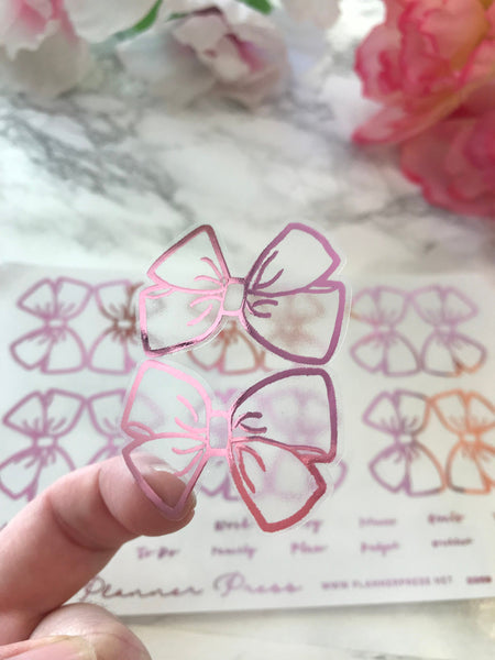 Pink Large Clear Foiled Bow Tabs For TN's and Midori Travelers Notebook - Planner Press