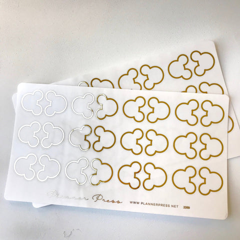 Small Ears Gold Clear Foiled Tabs For Planners and Travelers Notebooks - Planner Press