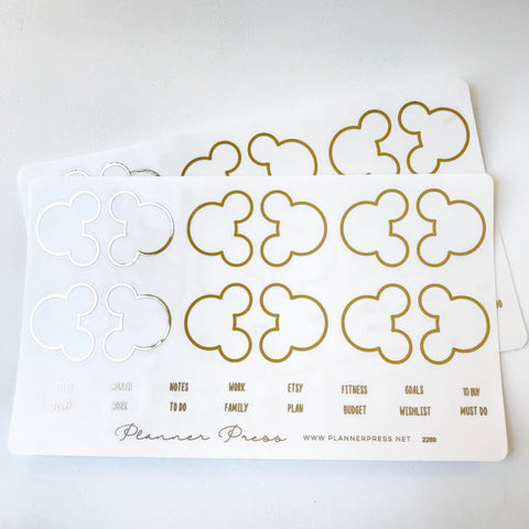 Gold Large Ears Foil Clear Foiled Tabs For Planners and Travelers Notebooks - Planner Press