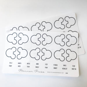 Black Large Mouse Ears Clear Foiled Tabs For Planners and Travelers Notebooks - Planner Press