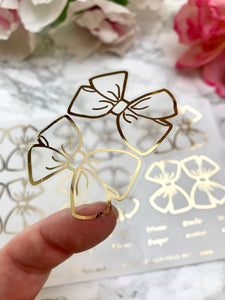 Gold Large Clear Foiled Bow Tabs For TN's and Midori Travelers Notebook - Planner Press