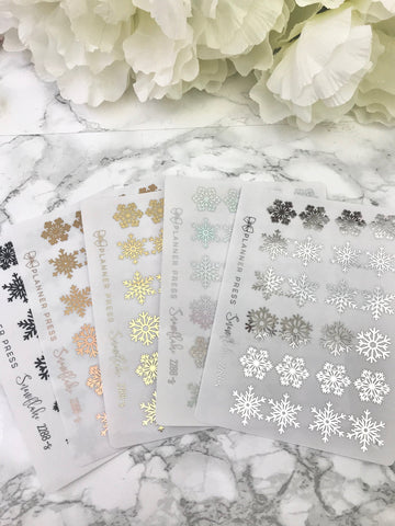 Snowflake Mini Clear Foiled Bow Tabs For Planners and Travelers Notebooks 2288 - Planner Press