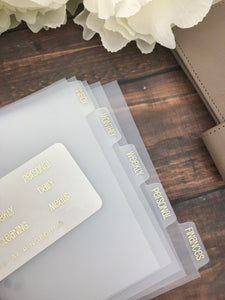 Simple & Clean Foiled Clear Divider Tabs Modular System Labels T-1505 - Planner Press