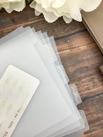 *OTHER SIZES* Bow Flourish Foiled Clear Divider Tabs Modular System Labels T-1502 - Planner Press