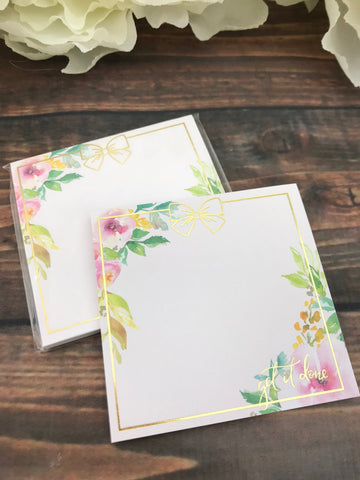 Get it Done Floral Blush Foiled Sticky Note Pad 30 Pages - Planner Press