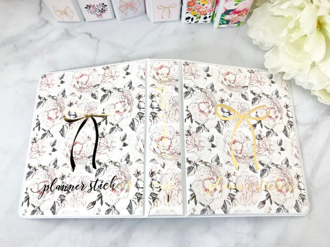 Peonies with Gold Foil Bow Sticker Album Cover Kit SA002 - Planner Press