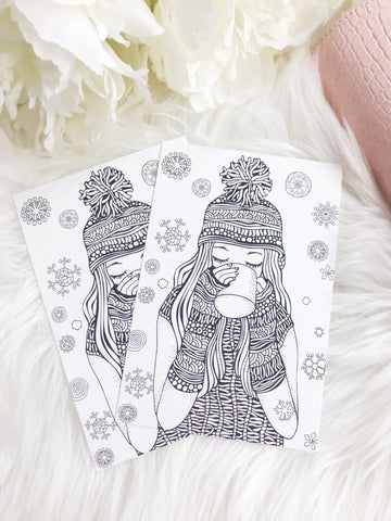 Winter Girl Coloring Planner Card - Planner Press