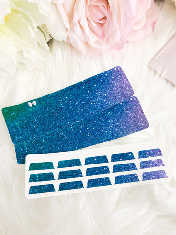 Mermaid Glitter Blank Sticker Tabs for Divider Tabs Modular System Labels T-1519 - Planner Press