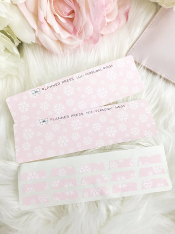 Pink Winter Snowflake Blank Sticker Tabs for Divider Tabs Modular System Labels T-1512 - Planner Press