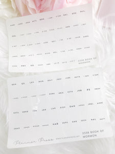 The Book of Mormon Bible Tabs Foiled Clear or White Foiled Tabs For Planners and Travelers Notebooks 2338 - Planner Press