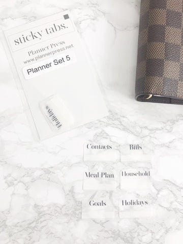 Planner Set 5 Sticky Tabs Font 2 - Planner Press