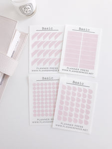 Basic Pink Transparent Matte Stickers- Dots, Tear Drops, Highlighter and Corner Flag 2352 - Planner Press