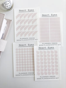 Heart Eyes Transparent Matte Stickers- Dots, Tear Drops, Highlighter and Corner Flag 2359 - Planner Press