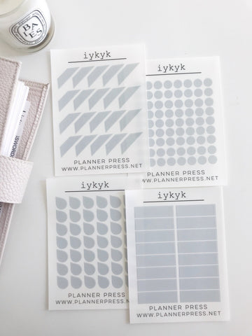 IYKYK (If You Know You Know) Transparent Matte Stickers- Dots, Tear Drops, Highlighter and Corner Flag 2362 - Planner Press