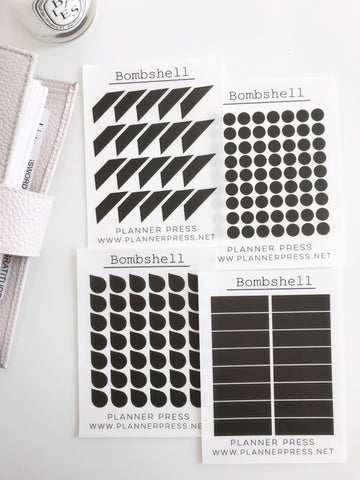 Bombshell Transparent Matte Stickers- Dots, Tear Drops, Highlighter and Corner Flag 2354 - Planner Press