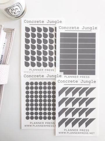 Concrete Jungle Transparent Matte Stickers- Dots, Tear Drops, Highlighter and Corner Flag 2376 - Planner Press
