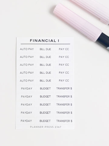 Financial 1 Task Stickers 2367 - Planner Press