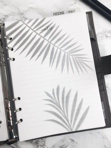 Palm Leaves Shadow Planner Dashboards For TN's and Travelers Notebook Ringbound Planner V247 - Planner Press