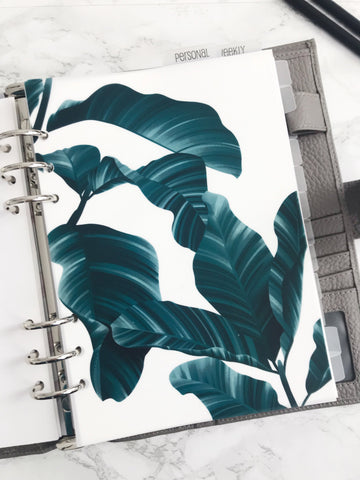 Tropical Leaves Planner Dashboards For TN's and Travelers Notebook Ringbound Planner V244 - Planner Press