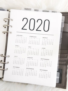 2020 Year At A Glance Minimalist Clean Planner Dashboards For TN's and Travelers Notebook Ringbound Planner V248 - Planner Press