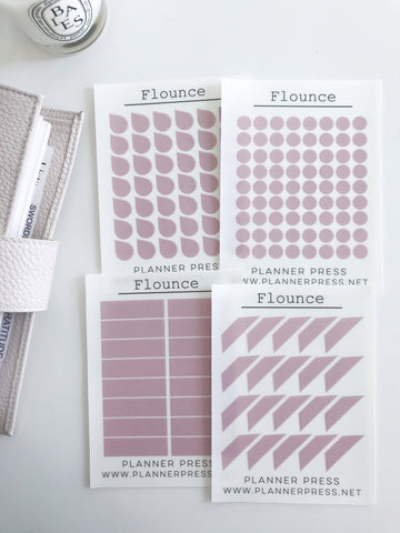 Flounce Transparent Matte Stickers- Dots, Tear Drops, Highlighter and Corner Flag 2348 - Planner Press