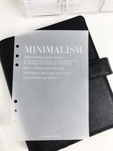Minimalism Definition Planner Dashboards For TN's and Travelers Notebook Ringbound Planner V315 - Planner Press
