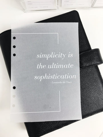 White Simplicity Quote Planner Dashboards For TN's and Travelers Notebook Ringbound Planner V301-1 - Planner Press