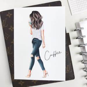 Coffee Glam Girl Planner Dashboards For TN's and Travelers Notebook Ringbound Planner V319
