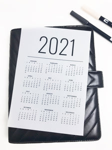 2021 Year At A Glance Minimalist Clean Planner Dashboards For TN's and Travelers Notebook Ringbound Planner V353 - Planner Press