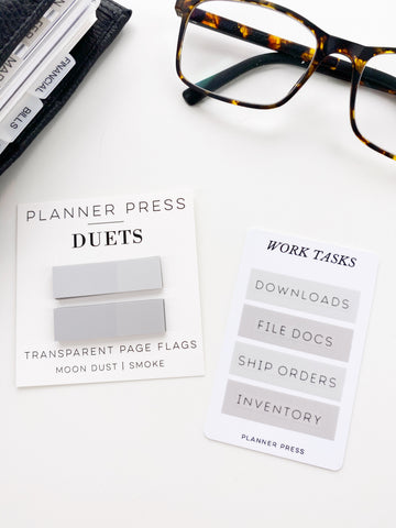 Moon Dust and Smoke Gray Planner Press Duets Transparent Page Flags