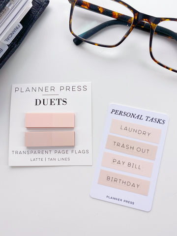 Latte and Tan Lines Planner Press Duets Transparent Page Flags
