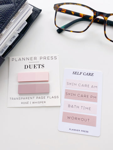 Rosé and Whisper Planner Press Duets Transparent Page Flags