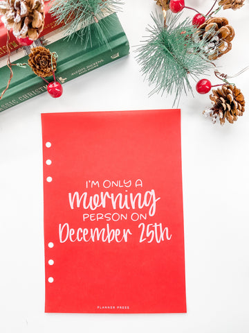 Morning Person Christmas Dashboards For TN's and Travelers Notebook Ringbound Planner V378