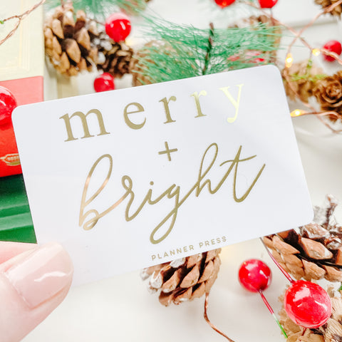 Merry And Bright Christmas Gold Foil Pocket Card