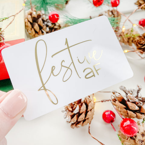 Festive AF Christmas Gold Foil Pocket Card