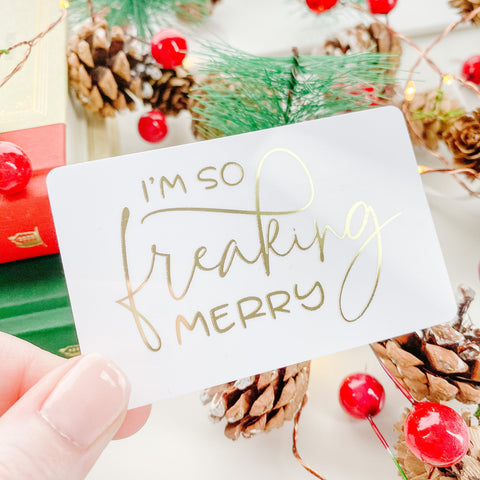 So Freaking Merry Christmas Gold Foil Pocket Card