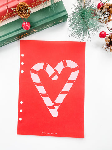Candy Cane Heart Christmas Dashboards For TN's and Travelers Notebook Ringbound Planner V382