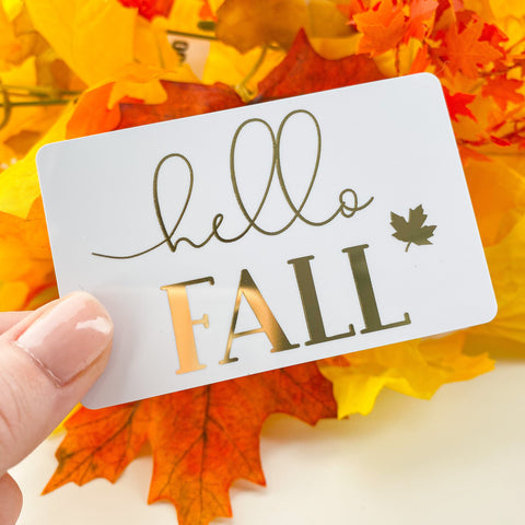 Hello Fall Gold Foil Pocket Card