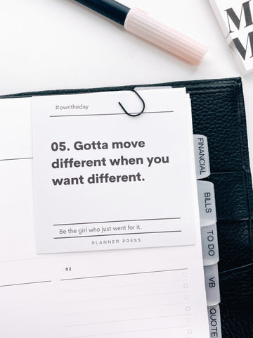 Gotta Move Different #OWNTHEDAY  3x3 Card