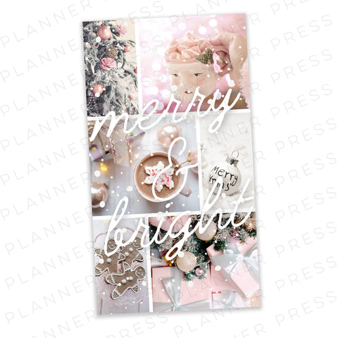 A5 Wide Ringbound Pink Winter Wonderland Christmas Digital Dashboard Download