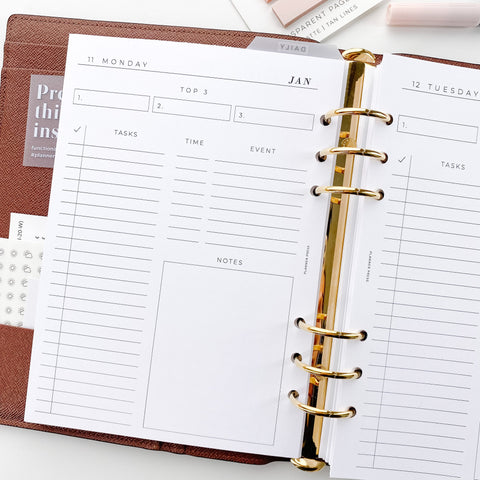 Daily Dated Day On One Page Printed Planner Inserts
