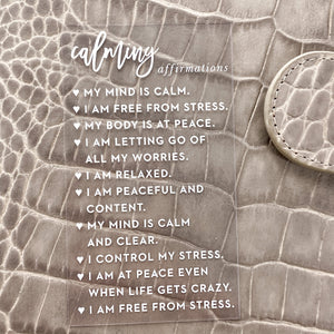 Calming Affirmations Clear White Planner Card