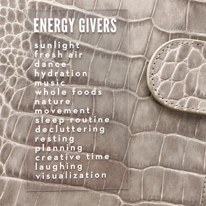 Energy Givers Clear White Planner Card