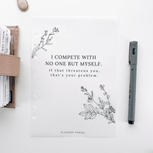 I Compete With Myself Minimal Planner Dashboards For TN's and Travelers Notebook Ringbound Planner V475