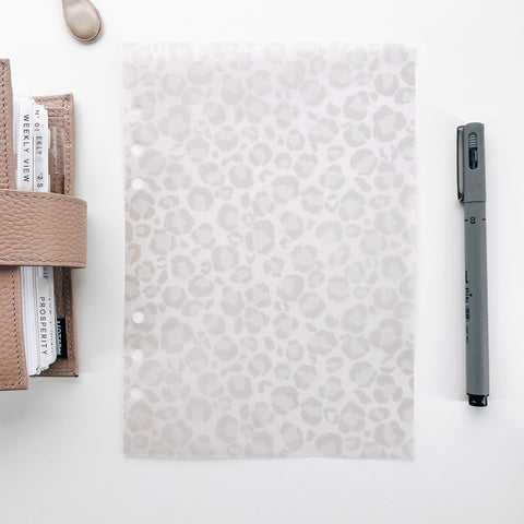 Neutral Leopard Minimal Planner Dashboards For TN's and Travelers Notebook Ringbound Planner V468